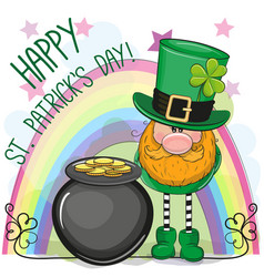 st patricks greeting card with leprechaun vector image