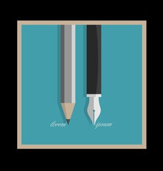 Stylized pencil and writing pen vector image