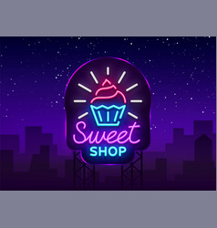 Sweet shop logo is neon style candy shop neon vector
