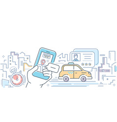 taxi mobile app - colorful line design style vector image