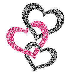Three intertwined hearts vector