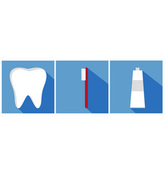 tooth with toothbrush and toothpaste flat design vector image