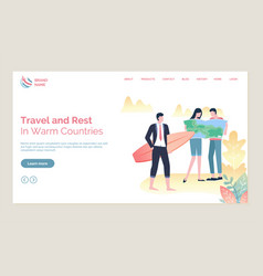 tourists in warm countries travel online vector image