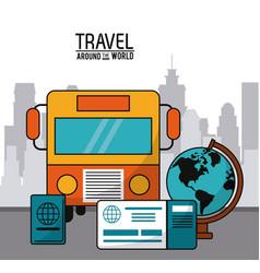 Travel around the world bus transport globe vector