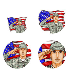 Us flag salute soldier pop art avatar icon vector