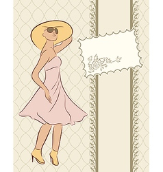 vintage girl with card sketch style - vector image