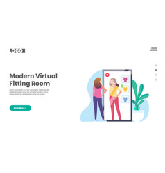 Virtual fitting room smart mirror shopping vector