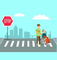 Volunteer help granny in wheelchair to cross road vector