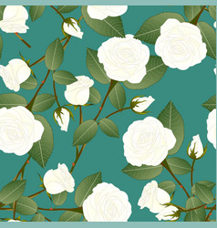 White rose on green teal background vector