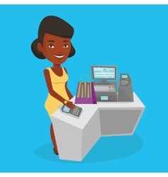Woman paying wireless with smart watch vector