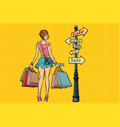 young woman at the sign for sales vector image