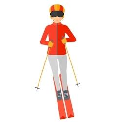 Young woman skiing vector image