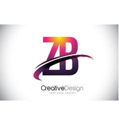 Zb z b purple letter logo with swoosh design vector