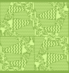 greenery chevron russian floral seamless pattern vector image vector image
