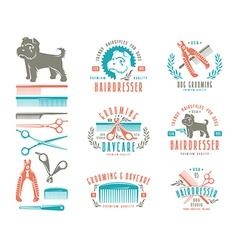 Set of hairdresser for dog Badges vector image