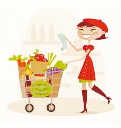 supermarket shopping vector image vector image