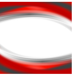 Grey and red waves on white background vector image vector image