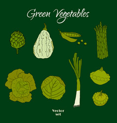 hand drawn doodle green vegetables icons isolated vector image