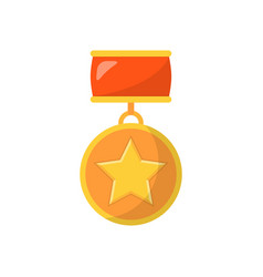 medal with star and red ribbon vector image