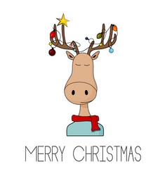 merry christmas greeting card with deer and vector image
