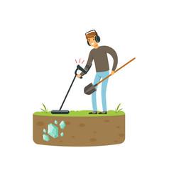 treasure seeker with metal detector and shovel vector image vector image