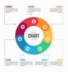 circle chart infographic template with 7 parts vector image vector image