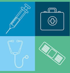 hospital tools and first aid icon vector image vector image