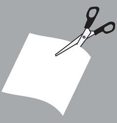 image of scissors cutting paper vector image