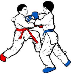 karate kid doodle vector image vector image