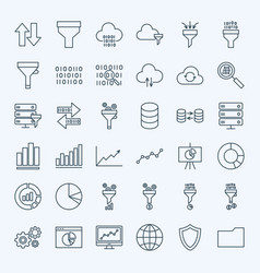 Line filter funnel icons vector
