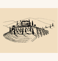 Sketch of villa peasants house in fields vector