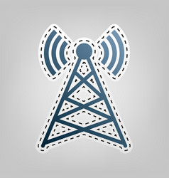 antenna sign blue icon with vector image
