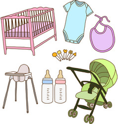 Baby accessories vector image