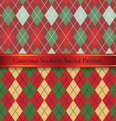 Christmas Seamless Argyle Pattern Design Set 4 vector image