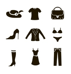 clothes icon set woman vector image