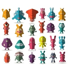 24 cute doodle monsters with folded style vector image