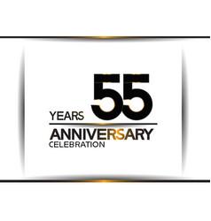 55 years anniversary black color simple design vector