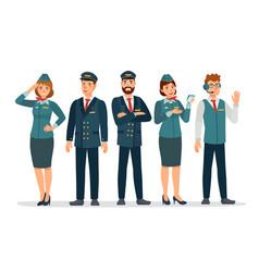 Aircraft staff air crew in uniforms pilots vector