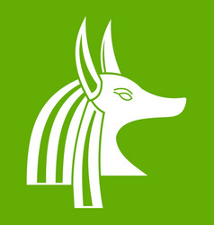 ancient egyptian god anubis icon green vector image