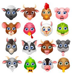 animal head cartoon collection set vector image
