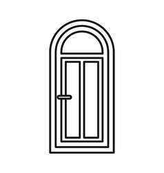 Arched wooden door with glass icon vector image