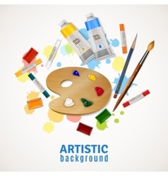 Artistic Background With Palette And Paints vector image