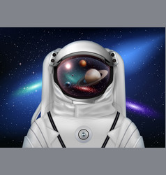 Astronaut watching planets composition vector