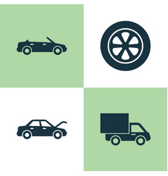 automobile icons set collection of lorry fixing vector image