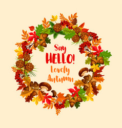 Autumn poster of maple leaf wreath vector