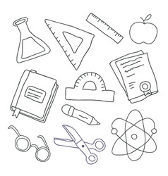 back to school outline set with school supplies vector image