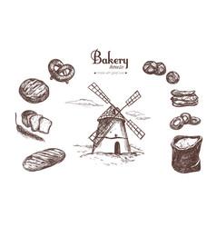 bakery shop set 4 vector image