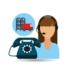 call centre woman working warehouse truck vector image