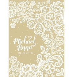 Card with a white lace vector image