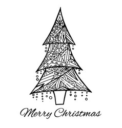 Card with doodle black and white christmas tree vector